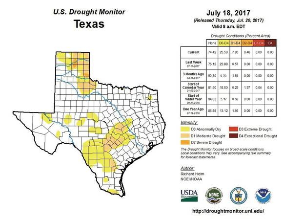 U S Drought Monitor Texas